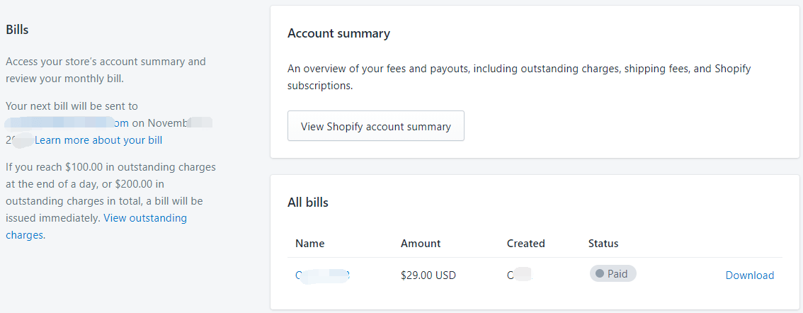 Shopify开店教程-Billing账单信息设置