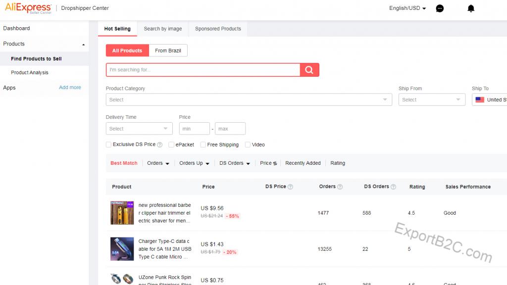 Shopify独立站免费选品工具推荐-Aliexpress Dropshipping Center